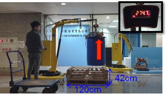 直接吊起、秤重棧板上的任何一個化學桶或油桶,比油桶搬運車省時有效率